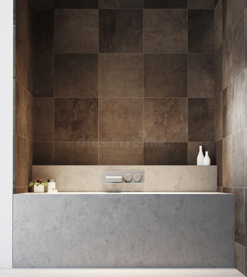 Intérieur carrelé foncé de salle de bains, une baignoire illustration de vecteur