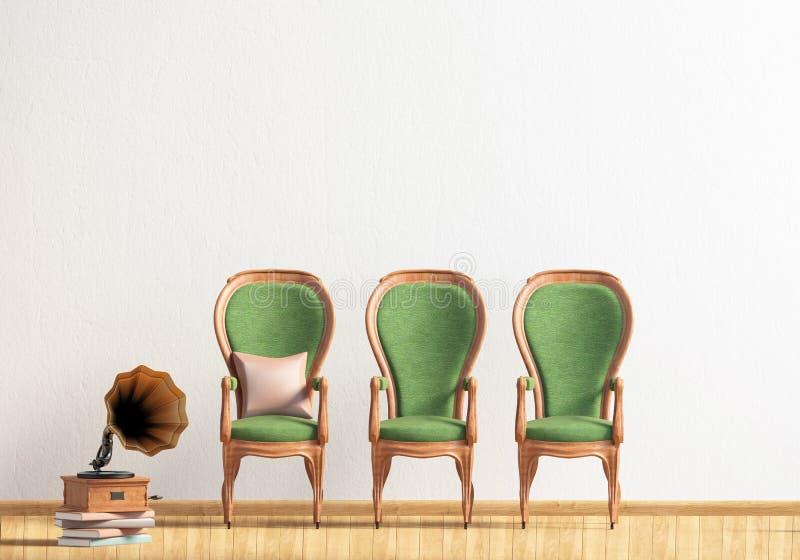 Intérieur classique avec des chaises moquerie de mur  illustration libre de droits