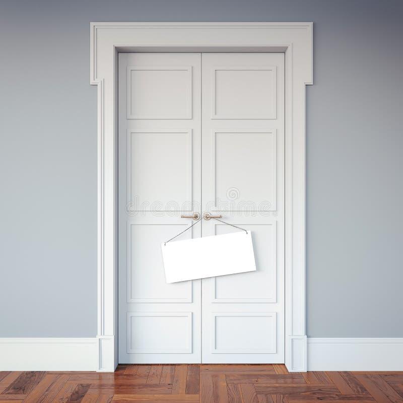 Intérieur classique avec des portes et une enseigne sur les poignées rendu 3d illustration libre de droits