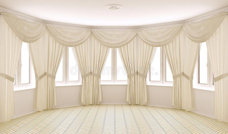 Intérieur classique avec des rideaux illustration de vecteur