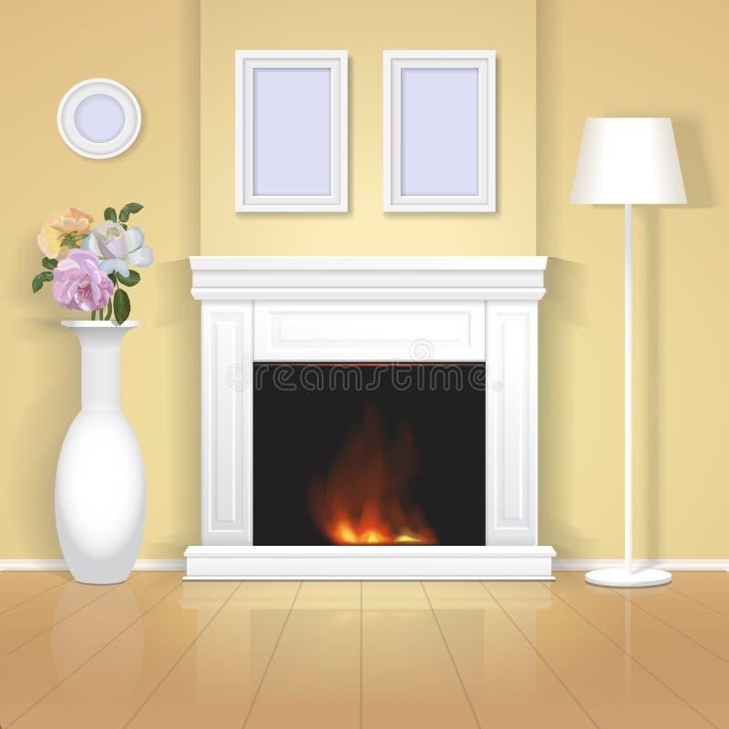 Intérieur classique avec l'illustration de cheminée Conception à la maison réaliste illustration libre de droits