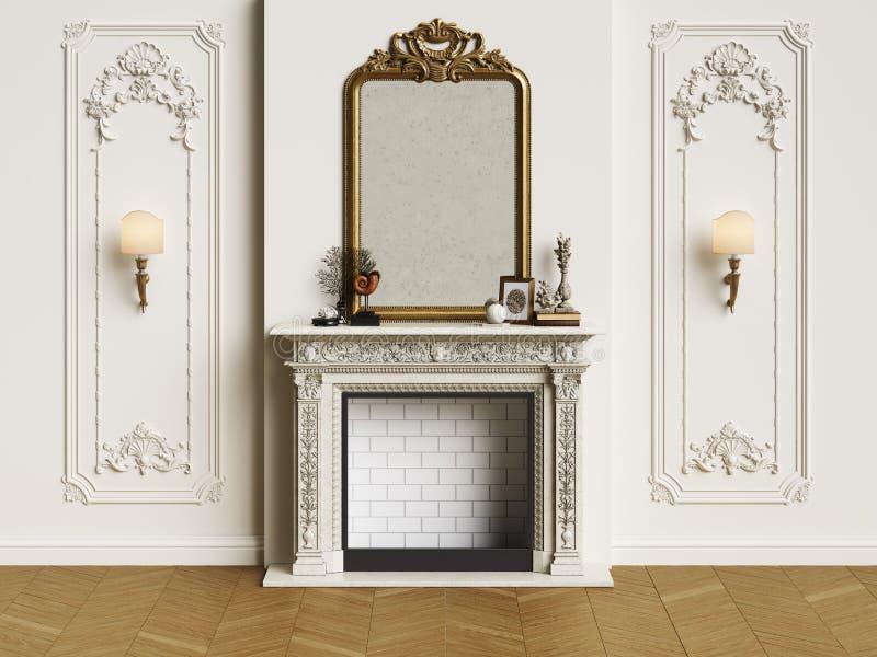 Intérieur classique avec la cheminée illustration stock