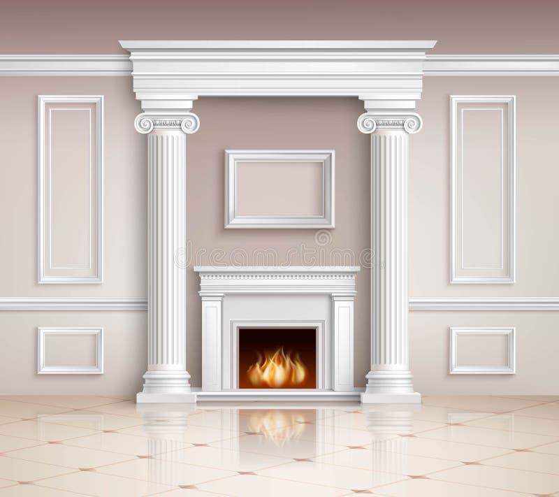 Intérieur classique avec la conception de cheminée illustration de vecteur
