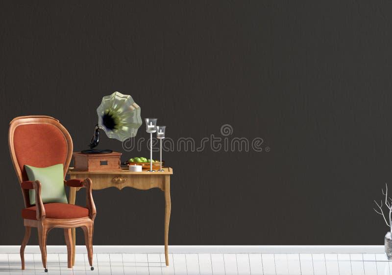 Intérieur classique avec la table et la chaise moquerie de mur  illustra 3D illustration de vecteur