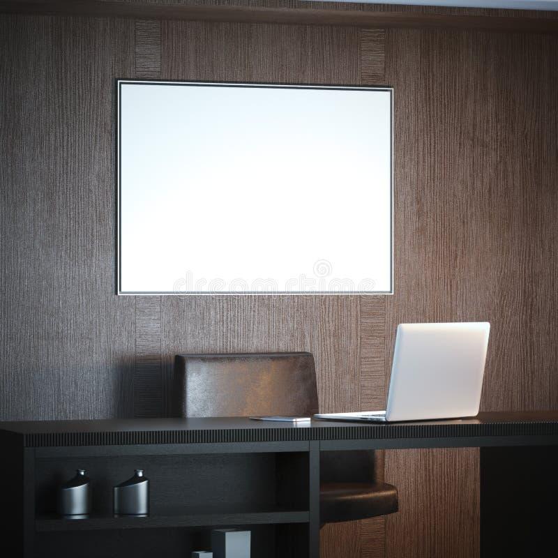 Intérieur classique avec le lieu de travail et la grande toile blanche rendu 3d illustration libre de droits
