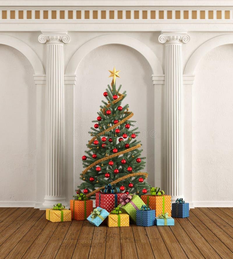 Intérieur classique avec le Noël-arbre et la colonne ionique illustration de vecteur