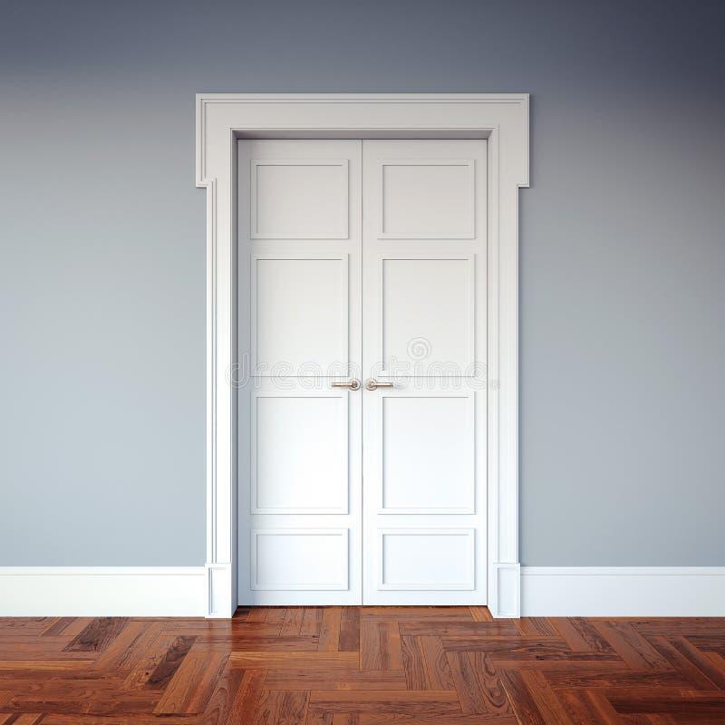 Intérieur classique avec les portes blanches rendu 3d illustration de vecteur