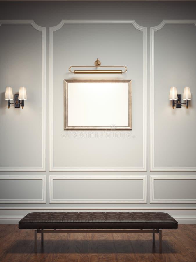 Intérieur classique avec un siège de cadre de tableau et de cuir rendu 3d illustration libre de droits