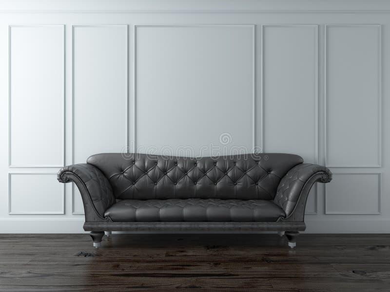 Intérieur classique blanc avec le sofa noir illustration libre de droits