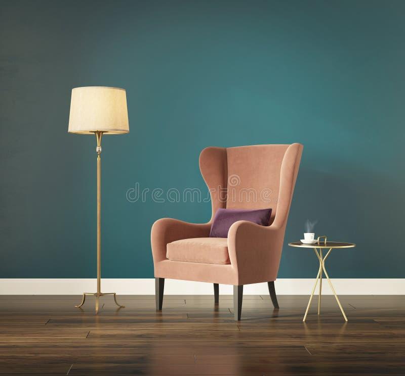 Intérieur classique chic moderne avec le fauteuil de dos d'aile illustration de vecteur