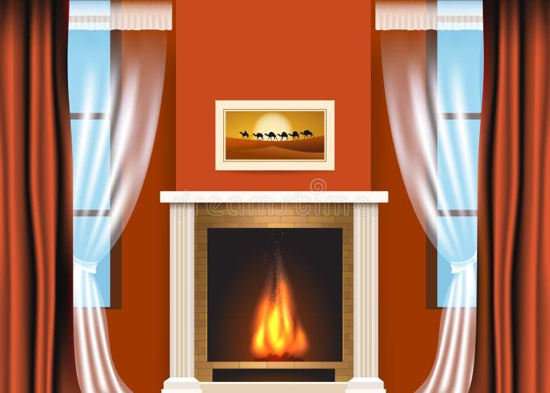 Intérieur classique de salon avec la cheminée illustration stock