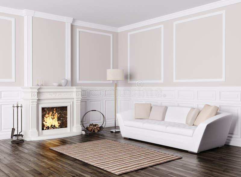 Intérieur classique de salon avec le rende de sofa et de cheminée 3d illustration libre de droits