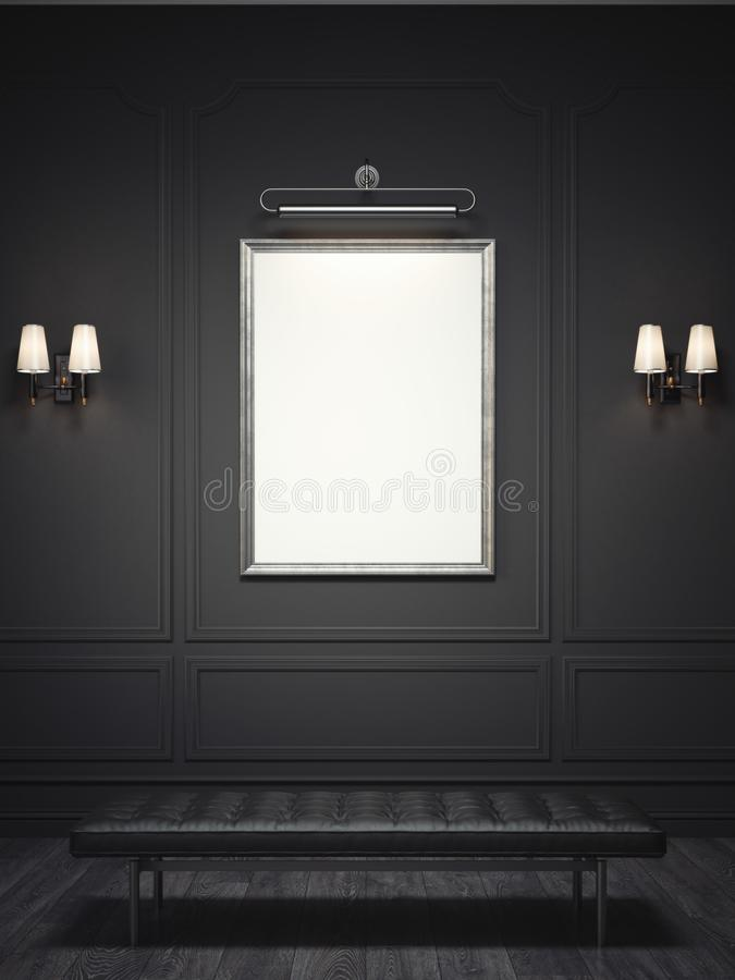 Intérieur classique foncé avec un cadre de tableau argenté rendu 3d illustration stock