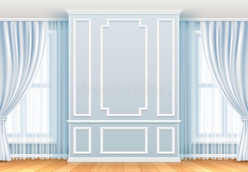 Intérieur classique Mur blanc avec les cadres et la fenêtre de moulage Décoration de vecteur de vintage de pièce à la maison illustration libre de droits