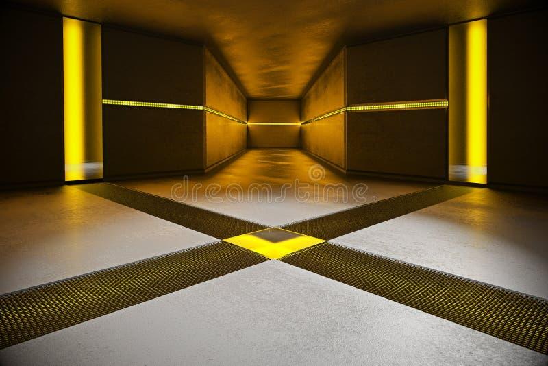 Intérieur concret avec les lumières jaunes illustration stock
