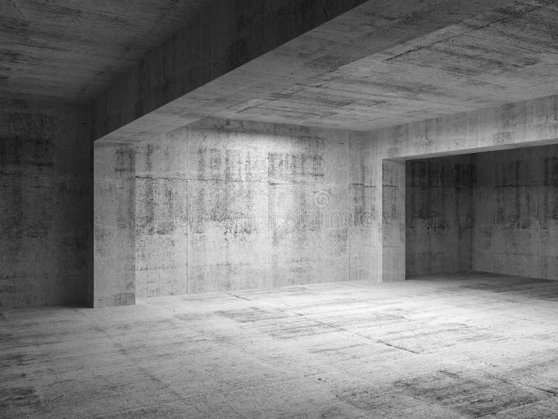 Intérieur concret sombre abstrait vide de pièce illustration libre de droits