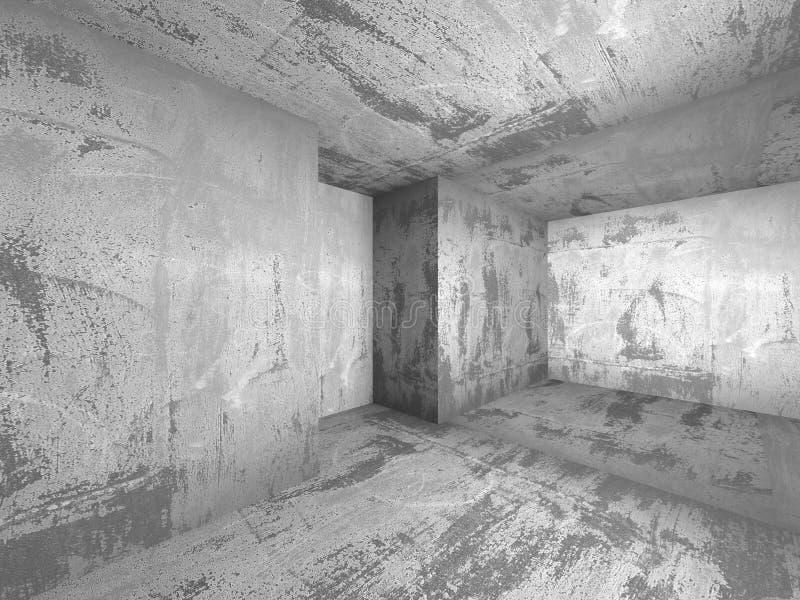 Intérieur concret sombre vide de pièce Fond urbain d'architecture illustration stock