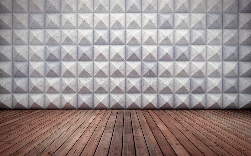 Intérieur concret vide abstrait avec le modèle polygonal de mur et le plancher en bois illustration libre de droits