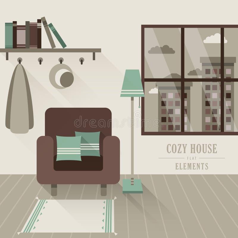 Intérieur confortable de maison dans le style plat de conception illustration de vecteur