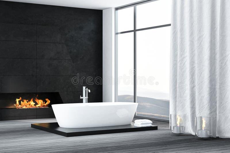 Intérieur contemporain de salle de bains avec la cheminée illustration stock