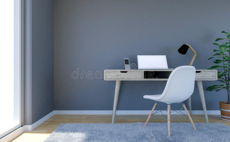 Intérieur contemporain de salon avec le mur vide gris et le bureau fonctionnant avec l'ordinateur portable illustration libre de droits