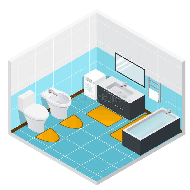 Intérieur détaillé de salle de bains isométrique Vecteur illustration de vecteur