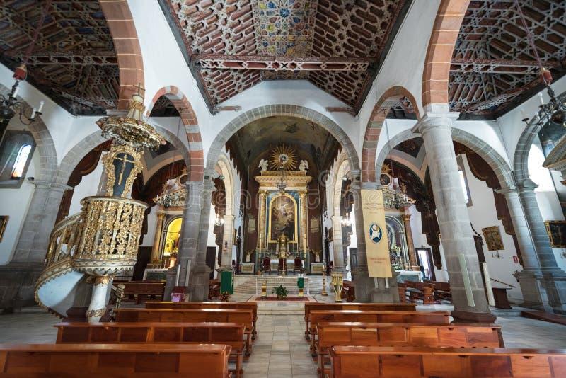 Intérieur d'église de San Salvador en La Palma, Îles Canaries, Espagne image stock