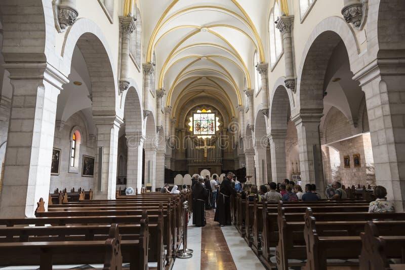 Intérieur d'église de St Catherine à Bethlehem On l'a enregistré la première fois au XVème siècle images stock