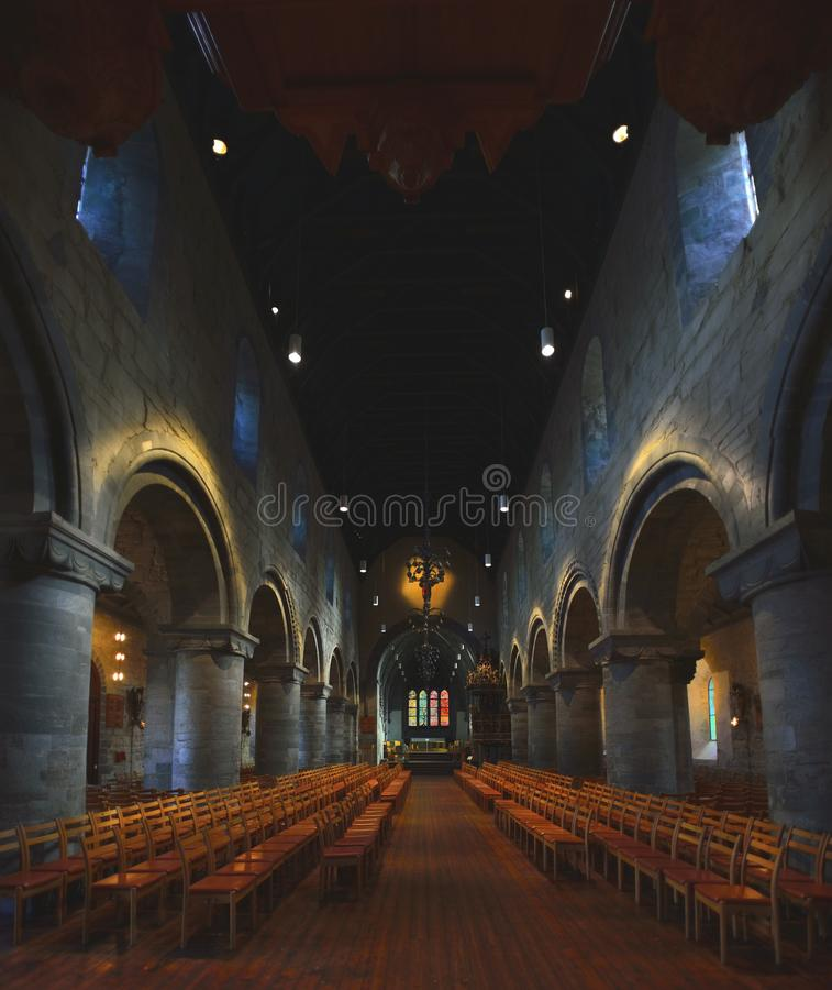 Intérieur d'église de Stavanger image stock