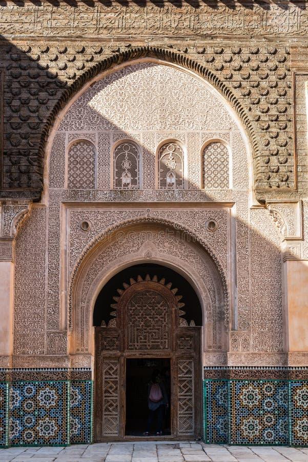 Intérieur d'Ali Ben Youssef Madrassa à Marrakech, Maroc photos libres de droits
