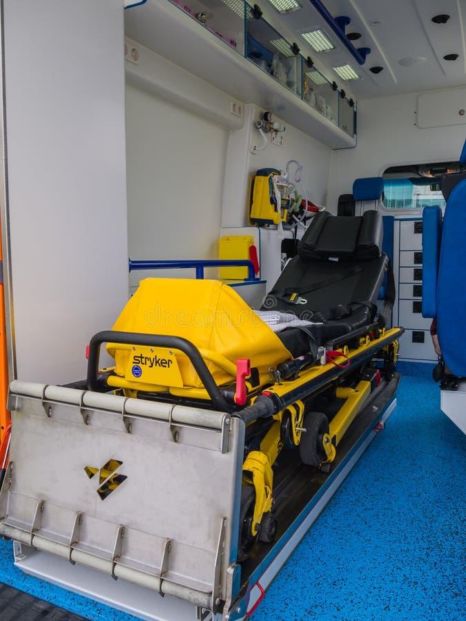 Intérieur d'ambulance néerlandaise photos libres de droits