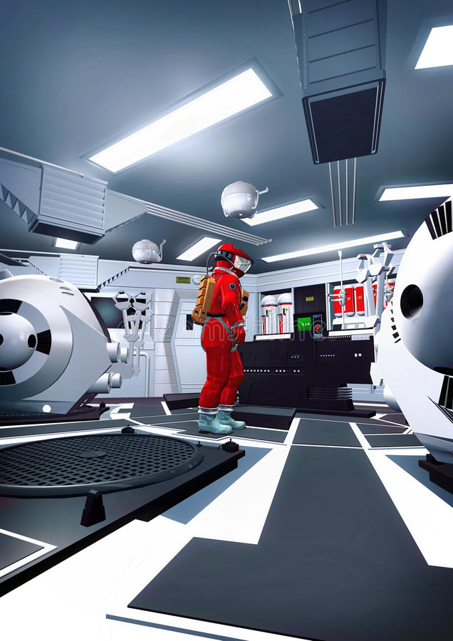 Intérieur d'astronaute et de vaisseau spatial illustration libre de droits