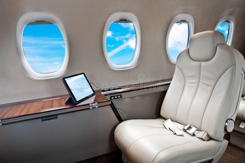 Intérieur d'avion d'avion d'affaires photographie stock