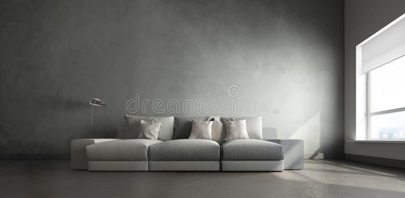 intérieur 3d de grande pièce grise illustration de vecteur