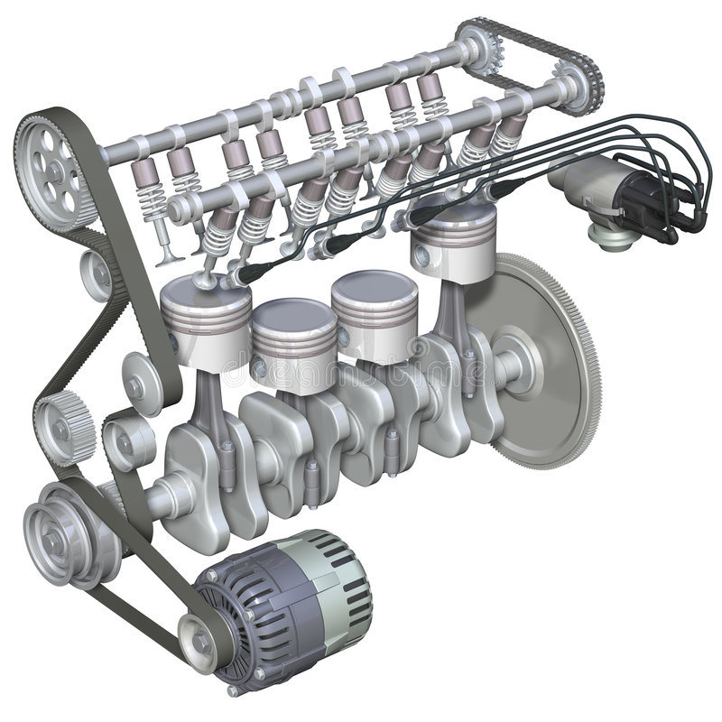 Intérieur d'engine d'essence illustration de vecteur