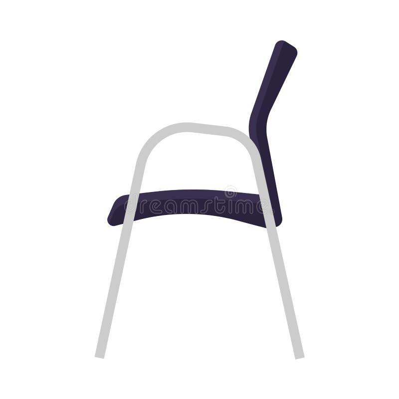 Intérieur d'icône de vecteur de vue de côté de chaise de café Meubles d'intérieur de table de Seat Conception moderne de décor de illustration libre de droits