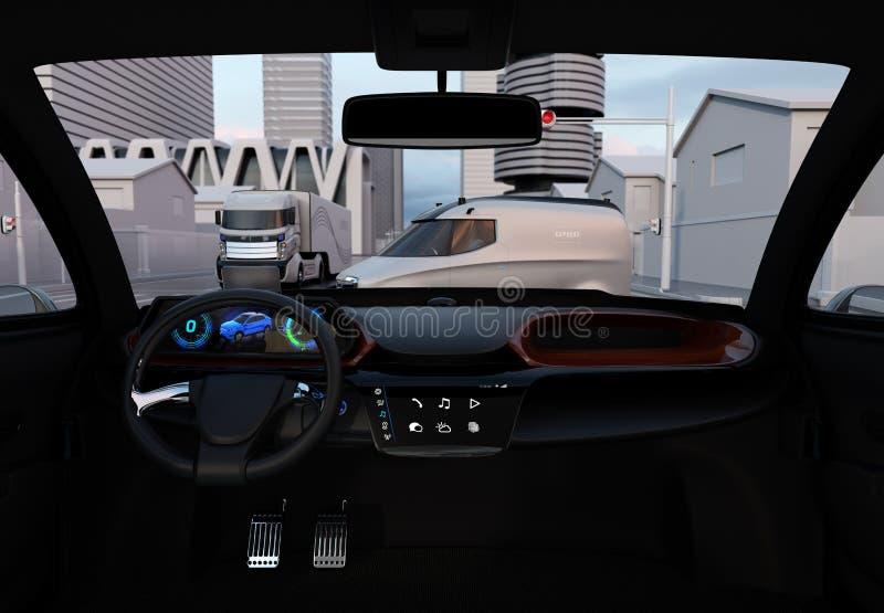 Intérieur d'individu conduisant l'arrêt de voiture à la route d'intersection illustration de vecteur
