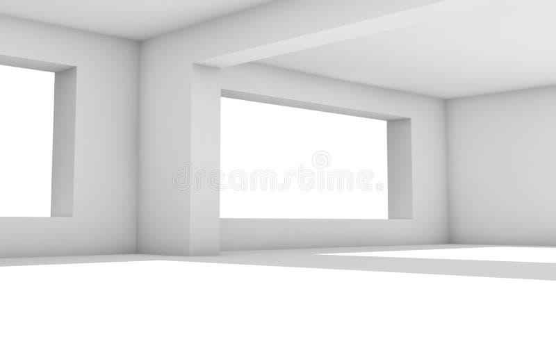 intérieur 3D Pièce blanche avec les fenêtres larges illustration de vecteur