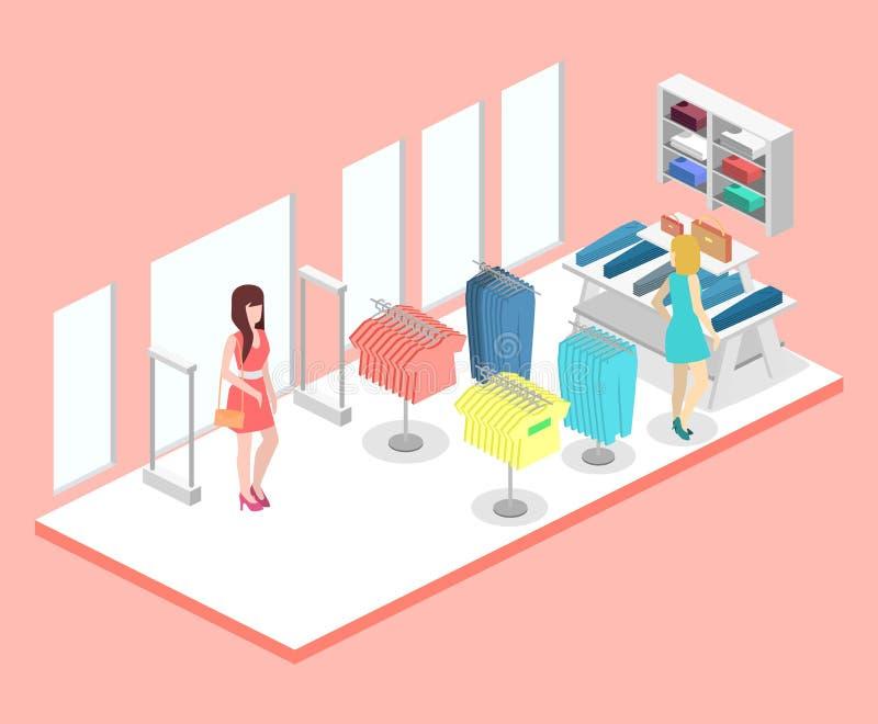 Intérieur 3D plat infographic isométrique de magasin d'habillement à l'intérieur illustration libre de droits