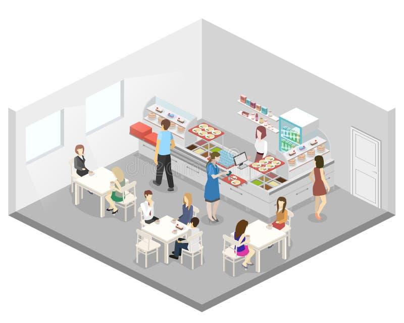 Intérieur 3D plat isométrique d'un café ou d'une cantine Les gens s'asseyent à la table et à la consommation illustration libre de droits
