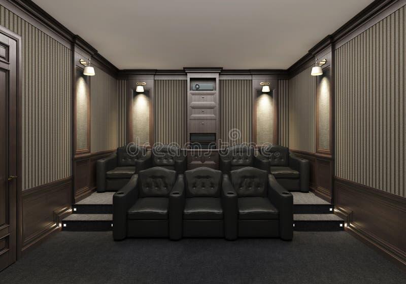 Intérieur d'un home cinéma image stock