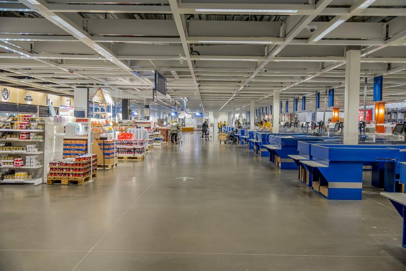 Intérieur d'un marché alimentaire capturé à Dallas, États-Unis image libre de droits