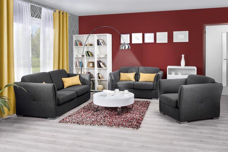 Intérieur d'un salon moderne en couleurs image libre de droits