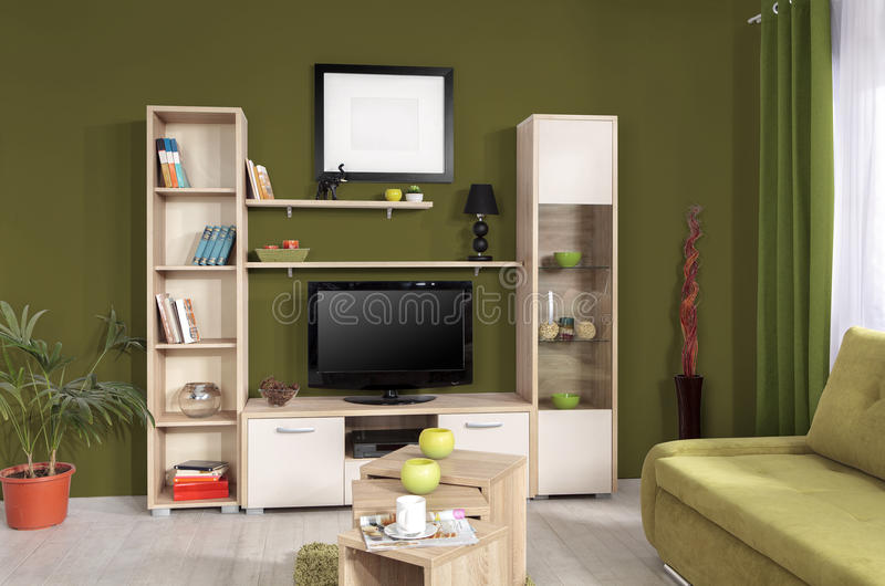 Intérieur d'un salon moderne en couleurs images libres de droits