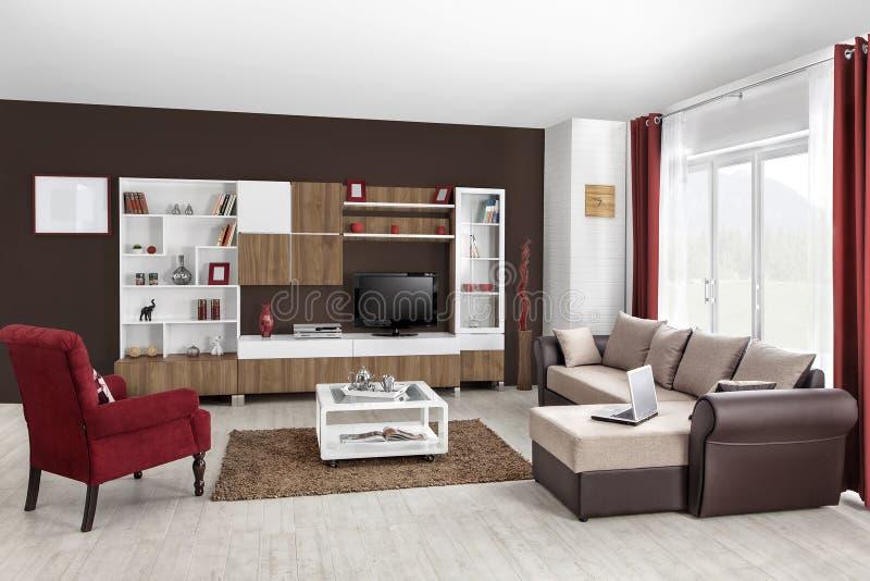 Intérieur d'un salon moderne en couleurs photo libre de droits