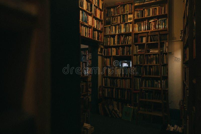 Intérieur d'une grande bibliothèque avec de hautes étagères photos libres de droits