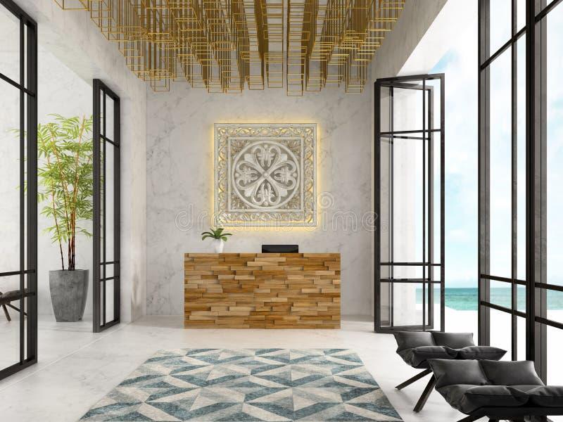 Intérieur d'une illustration de la réception 3D de station thermale d'hôtel illustration de vecteur