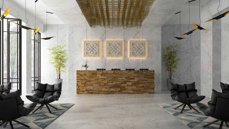 Intérieur d'une illustration de la réception 3D de station thermale d'hôtel illustration stock