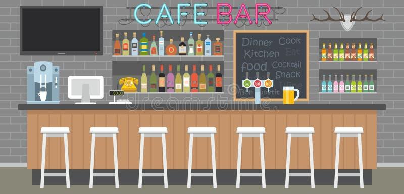 Intérieur de barre de café illustration de vecteur