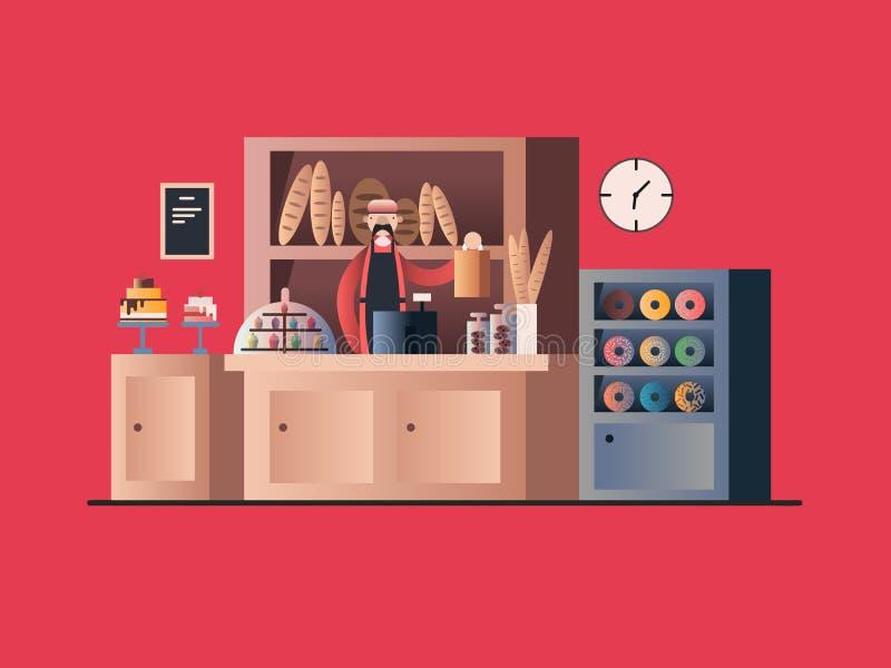 Intérieur de boulangerie avec le vendeur illustration de vecteur